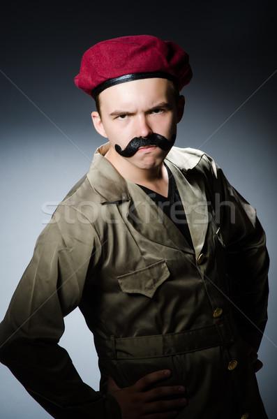 Engraçado soldado militar homem fundo segurança Foto stock © Elnur