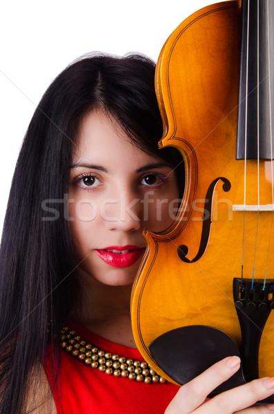 Foto stock: Mulher · jogar · violino · isolado · branco · concerto