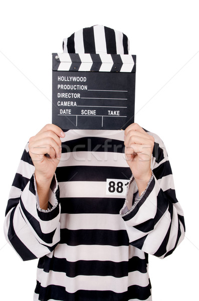 Funny prison inmate with movie board isolated on white Stock photo © Elnur
