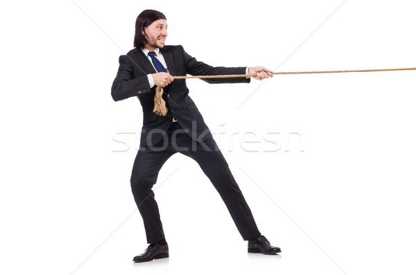 Сток-фото: молодые · бизнесмен · веревку · изолированный · белый