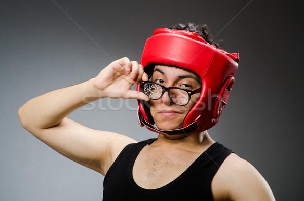Engraçado boxeador vermelho luvas escuro mão Foto stock © Elnur
