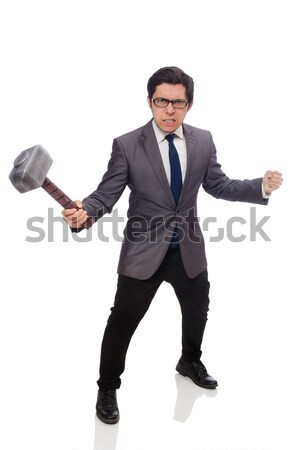 Stock photo: Young businessman holding a spade isolated on white