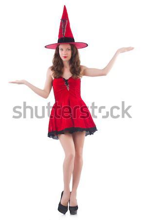 Stok fotoğraf: Genç · kadın · model · poz · kırmızı · mini