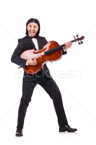 Funny man with music instrument on white Stock photo © Elnur
