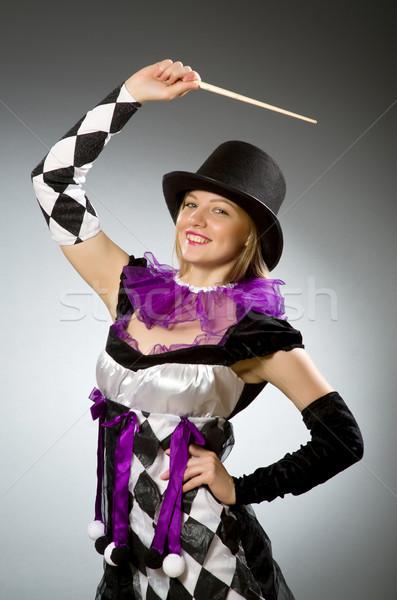 Kobieta magik strony uśmiech garnitur portret Zdjęcia stock © Elnur