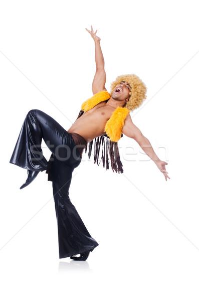 Dansçı afro peruk dans yalıtılmış beyaz Stok fotoğraf © Elnur