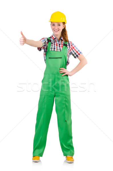 Female handyman in overalls isolated on white Stock photo © Elnur