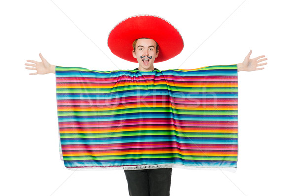 Stock photo: Funny young mexican with false moustache isolated on white