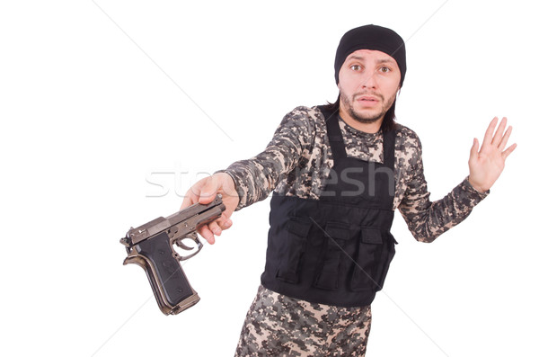человека пушки изолированный белый Сток-фото © Elnur