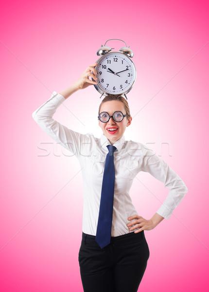 Stok fotoğraf: Inek · öğrenci · işkadını · çalar · saat · kadın · çalışmak · işadamı