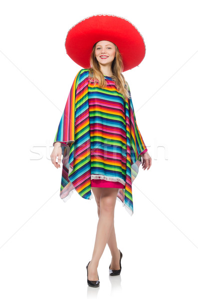 Pretty girl in mexican poncho isolated on white Stock photo © Elnur