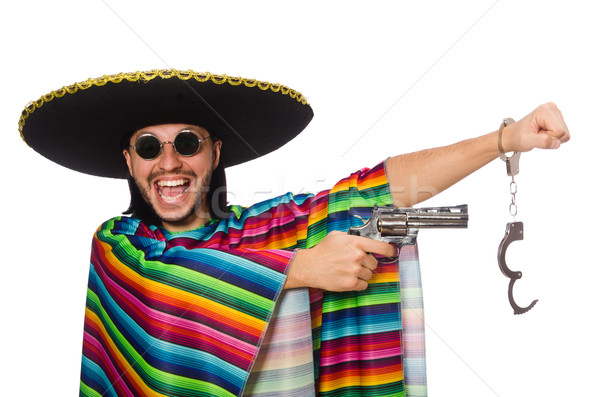 Mexican in vivid poncho holding gun isolated on white Stock photo © Elnur