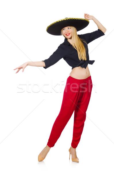 Vicces mexikói szombréró kalap boldog női Stock fotó © Elnur