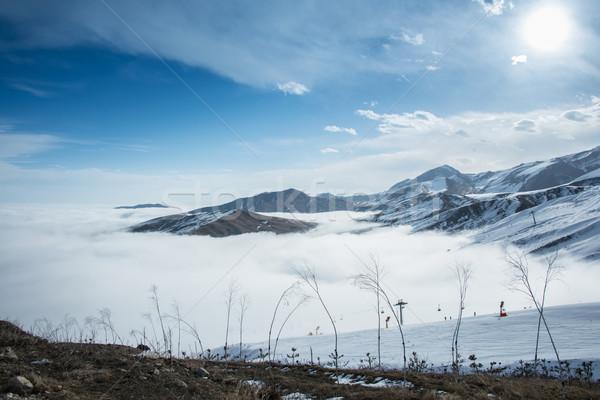Bergen winter Azerbeidzjan landschap sneeuw Blauw Stockfoto © Elnur