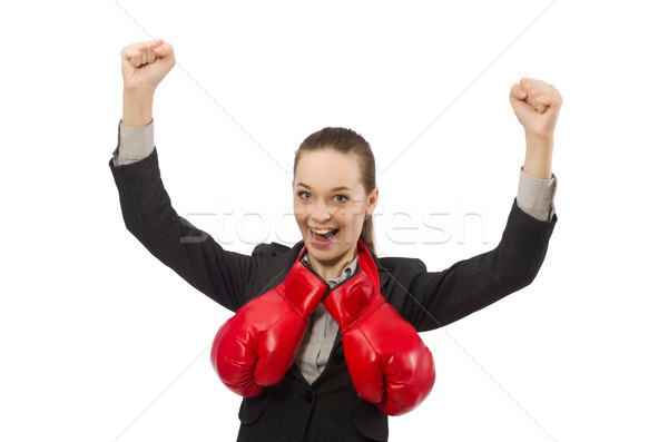 Woman boxer isolated on white background Stock photo © Elnur