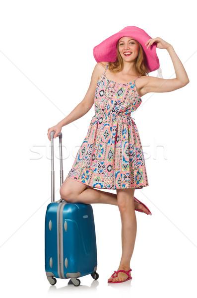 Stockfoto: Vrouw · witte · meisje · gelukkig · mode