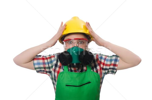 Kadın işçi gaz maskesi yalıtılmış beyaz Stok fotoğraf © Elnur