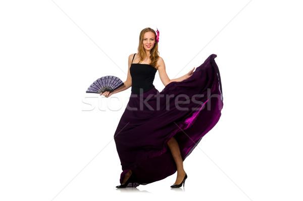 Kobieta taniec fan odizolowany biały muzyki Zdjęcia stock © Elnur