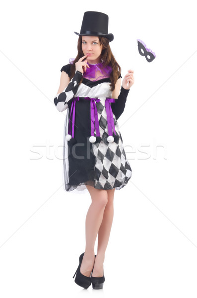 Pretty girl in jester costume with mask  isolated on white Stock photo © Elnur