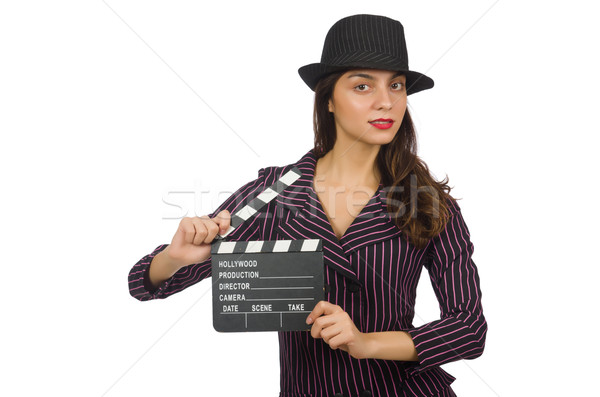 Woman with movie clapboard isolated on the white Stock photo © Elnur