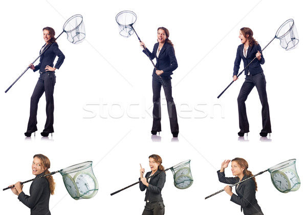 Woman with catching net and clock Stock photo © Elnur