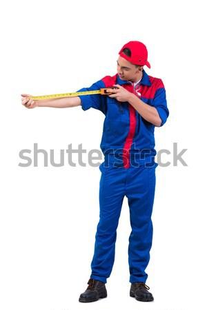 Jovem fita métrica isolado branco homem Foto stock © Elnur