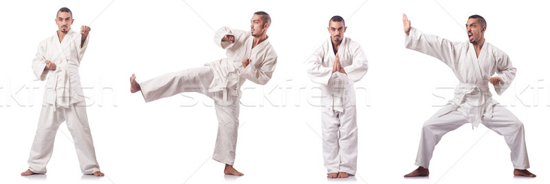 Collage karate speler kimono geïsoleerd witte Stockfoto © Elnur