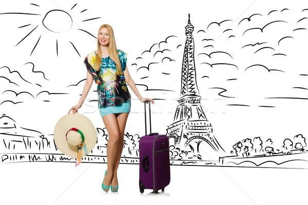 Jonge vrouw Parijs vrouw meisje gelukkig Stockfoto © Elnur