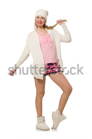 Stock photo: Young woman in pink plaid shorts isolated on white