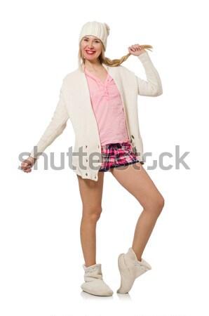 Fiatal nő rózsaszín kockás rövidnadrág izolált fehér Stock fotó © Elnur