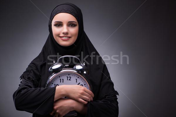 мусульманских женщину черное платье темно девушки счастливым Сток-фото © Elnur