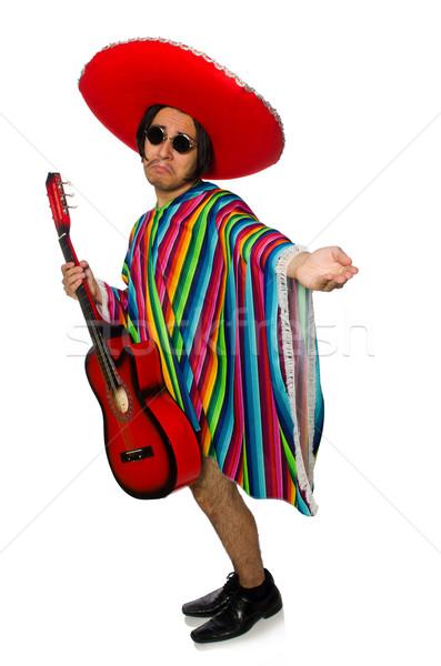 Mexican gitarzysta odizolowany biały muzyki nude Zdjęcia stock © Elnur