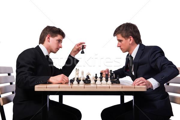 Iker fiútestvérek játszik sakk izolált fehér Stock fotó © Elnur