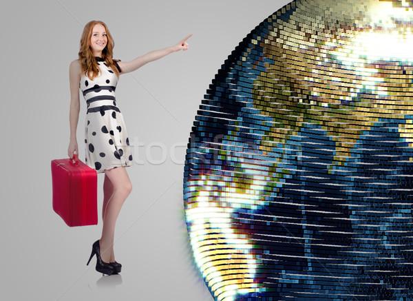 Nő világutazás lány földgömb boldog divat Stock fotó © Elnur