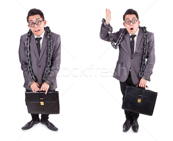 Businessman chained isolated on white Stock photo © Elnur