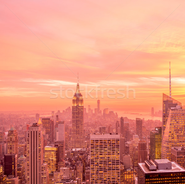 Nieuwe Manhattan zonsondergang business hemel Stockfoto © Elnur