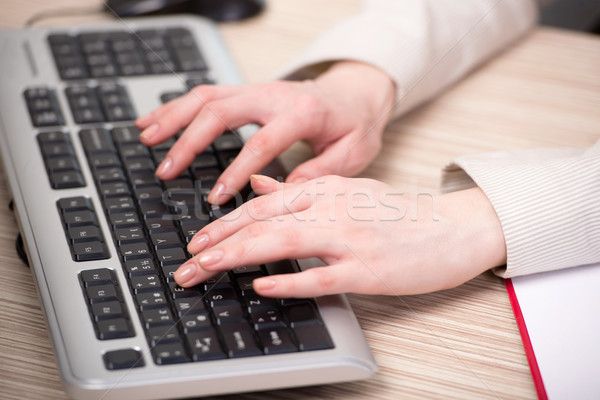 Hands working on the keyboard in the office Stock photo © Elnur