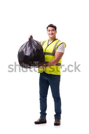 Homme ordures sac isolé homme blanc blanche Photo stock © Elnur