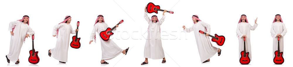 Arab man playing guitar isolated on white Stock photo © Elnur