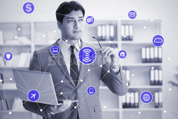 Internet of things concept with businessman Stock photo © Elnur