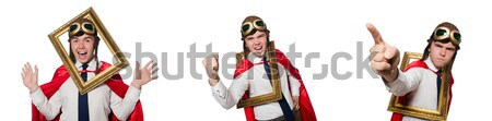 Funny hero with keyboard isolated on the white Stock photo © Elnur