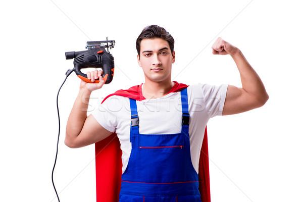 Superhero repairman isolated on white background Stock photo © Elnur