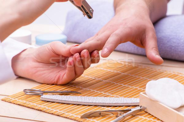 Hand manicure concept for man Stock photo © Elnur