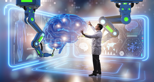 The brain surgery done by robotic arm Stock photo © Elnur