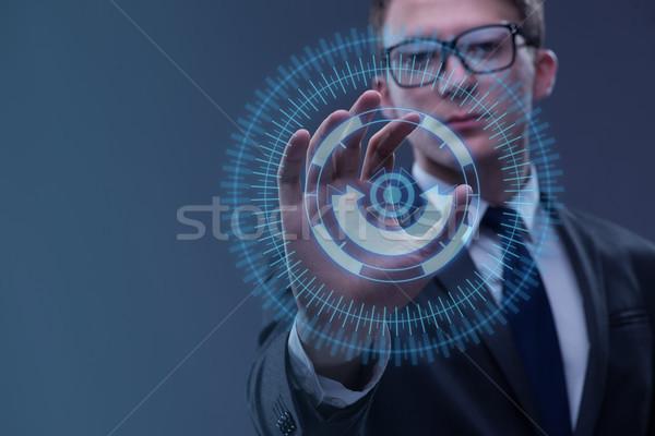 üzletember kisajtolás virtuális gombok futurisztikus üzlet Stock fotó © Elnur