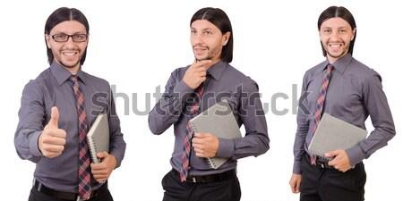 Fiatal üzletember papír izolált fehér iroda Stock fotó © Elnur