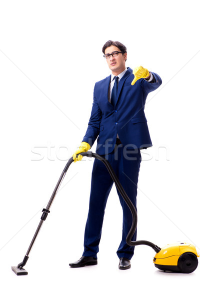 Handsome businessman with vacuum cleaner isolated on white backg Stock photo © Elnur