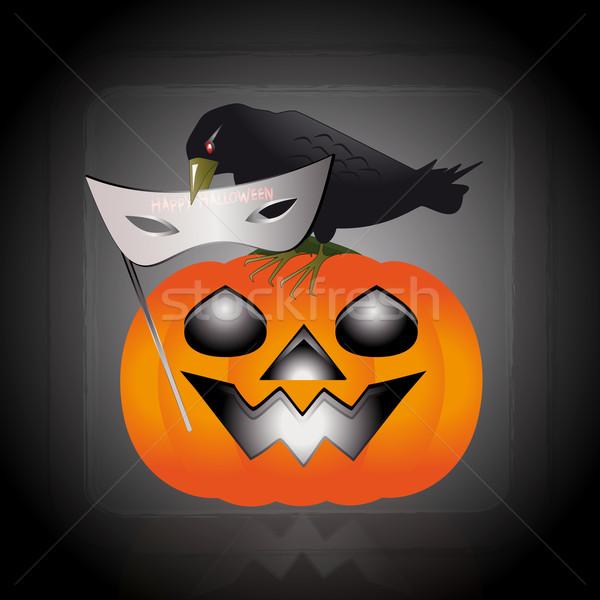 Máscara halloween ilustração corvo abóbora bico Foto stock © Elsyann