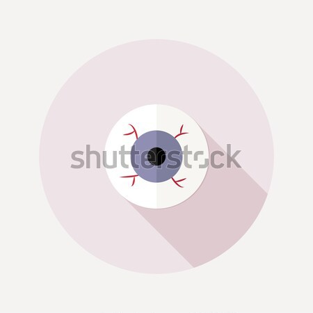 Flat design eyeball icon with long shadow Stock photo © Elsyann