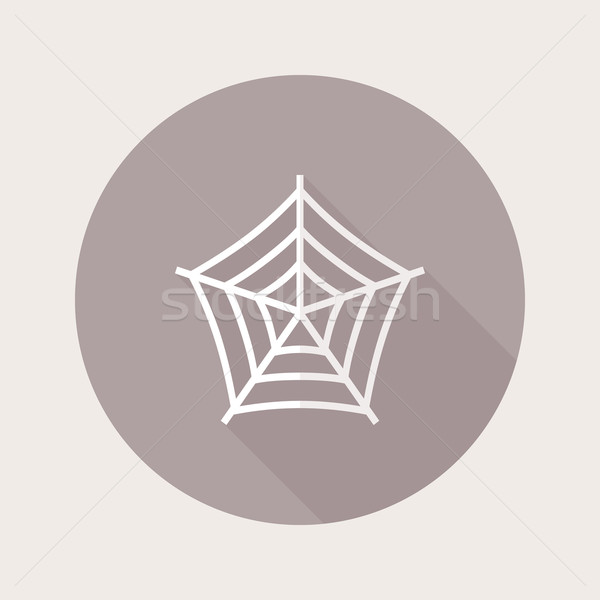 Flat design spider web icon with long shadow Stock photo © Elsyann